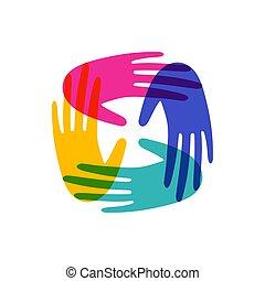一緒に, 人間, 助け, 共同体, 手