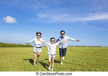 一緒に, 動くこと, 家族, 幸せ, 草