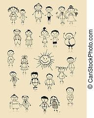 一緒に, 図画, 幸せな家族, 微笑, スケッチ, 大きい