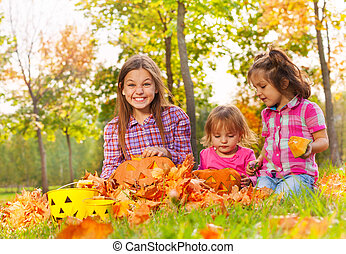 一緒に, 女の子, 座りなさい, 秋, カボチャ, 公園