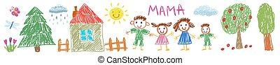 一緒に。, 子供, style., ベクトル, 幸せ, イラスト, 息子, 母, 娘, family., 父, 図画