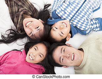 一緒に, 家族, 頭, 幸せ, アジア人