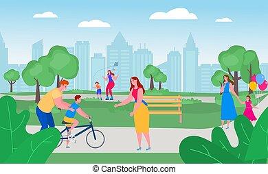一緒に, 時間, 無料で, 幸せ, 父, レジャー, 外, 教えなさい, 公園, ベクトル, 家族, activity., 親, 子供, illustration.