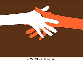 一緒の 手