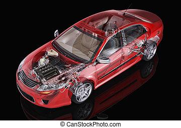 一般的, セダン, 自動車, 詳しい, cutaway, 代表, ∥で∥, 幻影, 効果, 上に, 黒,...