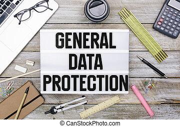 一般, 數据保護, 規定, (gdpr), 新, 法律, 在, 2018, 辦公室書桌, 在, 光拳擊, 上, 辦公室書桌, 套間, 位置