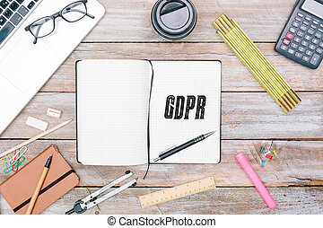 一般, 數据保護, 規定, (gdpr), 新, 法律, 在, 2018, 辦公室書桌, 套間, 位置, 在, 雜志, ......的, 作家, 上, 辦公室書桌, 套間, 位置