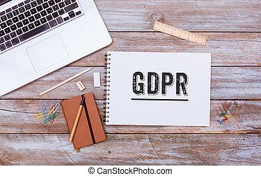 一般, 數据保護, 規定, (gdpr), 新, 法律, 在, 2018, 辦公室書桌, 套間, 位置