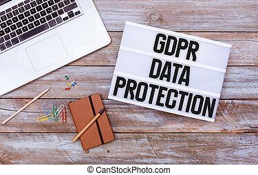 一般, 數据保護, 規定, (gdpr), 辦公室書桌, 套間, 位置