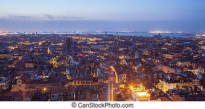 一般, 看法, ......的, 威尼斯, 從上面, 在, 傍晚