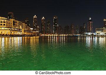 一般, 看法, ......的, 迪拜, 夜間