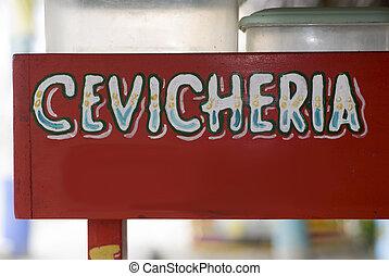 一般, 簽署, ceviche, 站, 餐館