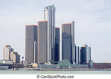 一般, 馬達, 建築物, gm, 總部, aka, 新生, 中心, 在, 市區, detroit.
