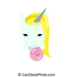 一角獣, ユーモア, 特徴, illustration., tシャツ, 泡, 狂気, 角, 印刷, ベクトル, gum., print., 平ら, ピンク, unicorn., 構成, 面白い, 漫画, スタイル