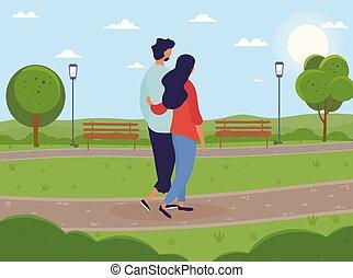 一起, 公园, 走, 夫妇, 年轻, 绿色