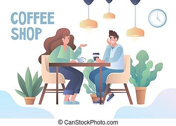 一起, 咖啡, 年轻, 喜欢, 夫妇