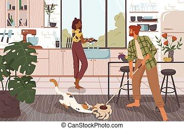 一起, 家务劳动, 打扫, 家庭, 临时工, kitchen., 妇女, 卡通漫画, 有趣, 矢量, 洗涤, 夫妇, 人, 地板, 国内, 盘, 房子, illustration., 持家, 肮脏, 做, chores.