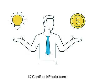 一, 商人, 手, 其它, 握住, 想法, 钱