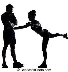 一, 夫婦, 人 婦女, 行使, 測驗, 健身