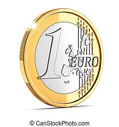 一, 硬币, 隔离, 分, 欧元