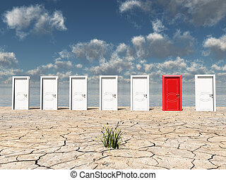 一, 紅的門