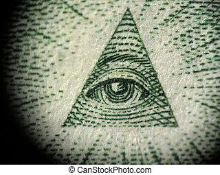 一, 金字塔, 美钞, 细节