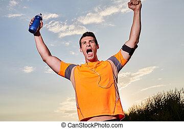 一, 高加索人, 人, 年輕, 短跑運動員, 賽跑的人, 跑, 胜利者, 在, 終點線