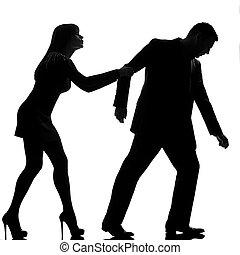 一, 高加索人, 夫婦, 爭論, 分開, 人, 離開, 以及, 婦女藏品, 背, 在, 工作室, 黑色半面畫像,...