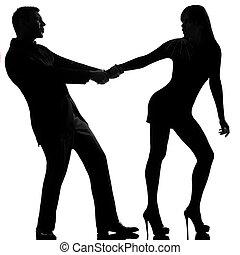 一, 高加索人, 夫婦, 爭論, 分開, 婦女, 離開, 以及, 人, 退縮, 在, 工作室, 黑色半面畫像, 被隔离,...