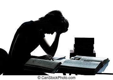 一, 高加索人, 年輕, 青少年, 黑色半面畫像, 男孩, 女孩, 學習, 疲倦, 閱讀, 書, 在, 工作室, 刪去,...