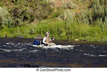 一, kayak, 釣魚, 單獨, 河, 人