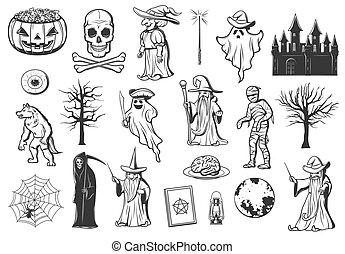 万圣節, 怪物, 巫婆, 圖象, 南瓜, 鬼