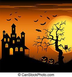万圣节前夜, 神鬼出没, 城堡, 带, 蝙蝠, 同时,, 树, 背景