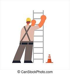 丈いっぱいに, マレ, 労働者, 建物, ユニフォーム, 建築者, 後部, 平ら, 労働者, 建設, 光景, はしご, 忙しい, 概念, 産業, 上昇