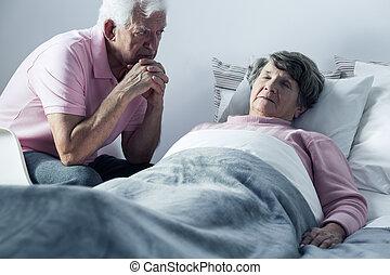 丈夫, 以及, mortally, 病, 妻子