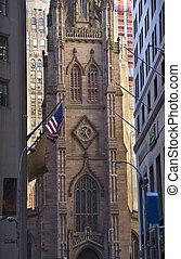 三位一体教会, ニューヨーク市, 外, から, ウォールストリート