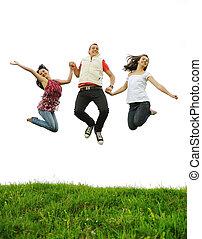三個朋友, 跳躍, 一起, 戶外