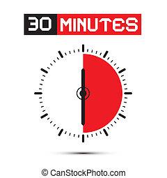 三十, 分鐘, 停止表, -, 鐘, 矢量, 插圖