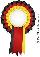 三原色, 玫瑰形飾物, 由于, 黑色, 黃色, 以及, 紅的緞帶, 以及, 黃金, 框架