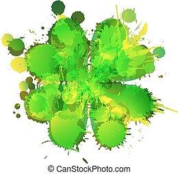 三叶草, 做, 叶子, 色彩丰富, 幸运, 飞溅, grunge