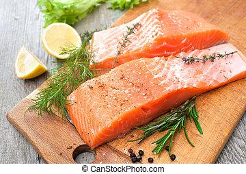 三文魚, 魚肉片, 由于, 新鮮的藥草