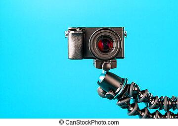 三脚, バックグラウンド。, 青, 写真, ∥あるいは∥, ビデオ, report., あなたの, レコード, blog, カメラ