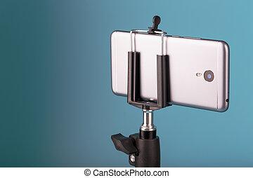 三脚, バックグラウンド。, blog., smartphone, カメラ, 青, photo-video, あなたの, レコード, ビデオ, 写真