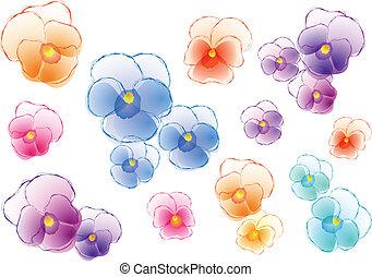 三色紫罗兰, 矢量, 放置, 色彩丰富
