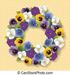 三色紫羅蘭, 彩色蜡筆, 花冠, 黃色