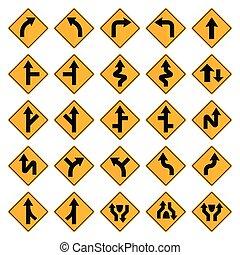 三角定規, 道, 黄色, サイン