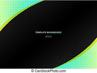三角形, スペース, 色, 明るい, 要素, halftone., 緑の背景, 放射状, 黒, 幾何学的