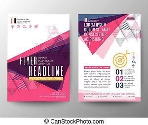 三角形, テンプレート, ポスター, 抽象的な形, ベクトル, デザイン, フライヤ, パンフレット, レイアウト