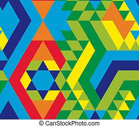 三角形, パターン, 幾何学的, felt-style, カラフルである