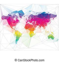 三角形, 世界, デザイン, 有色人種, 地図